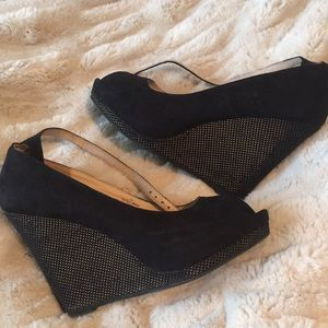 Shoes - Black wedges 7.5